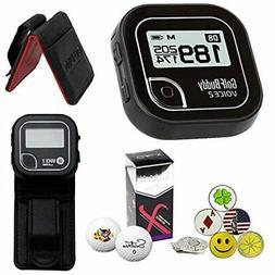 Golf Buddy Voice 2 GPS/Rangefinder Bundle Belt Clip, 5 Ball