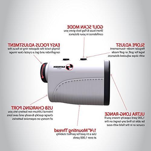 Saybien with - USB Golf Range Finder - Finder - - to 1,200 - Mode