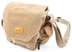 DURAGADGET Light Brown Medium Sized Canvas Carry Bag - Compa
